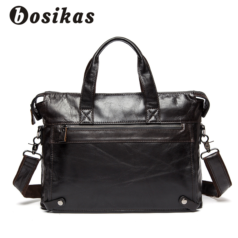 купить BOSIKAS Men Briefcase Laptop Business Bag Travel Briefcase Handbag Fashion Messenger Laptop Shoulder Bags Genuine Leather Bag по цене 2987.81 рублей