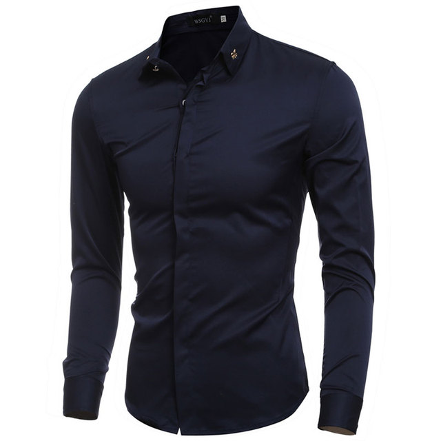 2016 Vintage Badge Decor Collar Solid Mens Dress Shirts Long sleeve Slim Fit Casual Social Camisas Masculinas Man Chemise homme