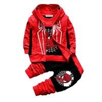 Ropa para niños 2017 Otoño/Invierno Del Bebé Muchachas de Los Muchachos 3 unids Ropa de Niños Sets Niños coat + t-camiseta + Pantalones de Traje rojo negro