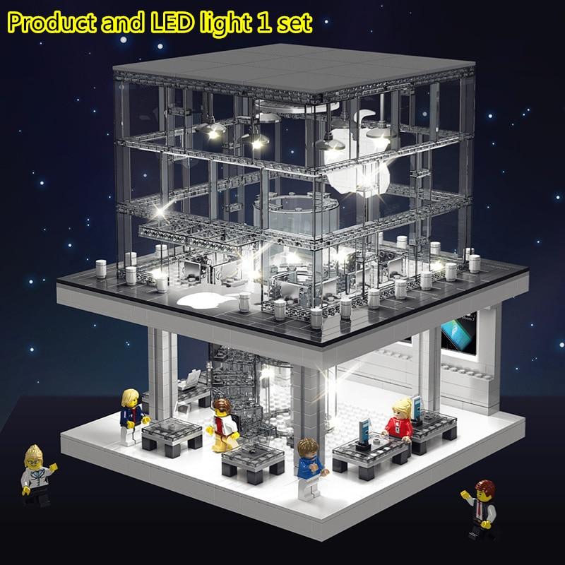 Créateur ville LED Version Street View Apple Store blocs de construction ensembles briques modèle classique téléphone enfants jouets compatibles Legoings