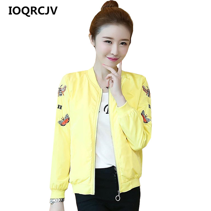 2019 Spring Autumn Short   Basic     Jacket   Women Coat Embroidery Windbreaker Female Long Sleeve Zipper Pockets Casual Outerwear R181