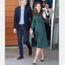 Princess Kate Middleton Dress 2019 Woman dress Spring Bow Neck Long Sleeve Polka Dots Elegant Dresses Work Wear Clothes NP0233J