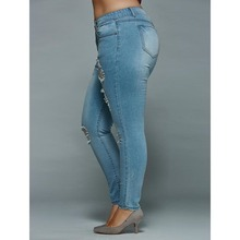 Plus Size 5xl Mid Waisted Skinny Distressed Jeans Women Sexy Ripped Denim Pants Femme Slim Trousers Ladies