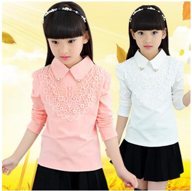 ff10b50e72 Novas Meninas primavera camisa lapela Broto de seda modelos de criança  camisa branca de colarinho boneca