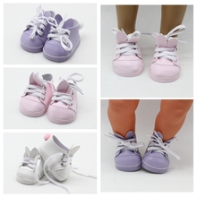 Pink/Purple/White Dolls Shoes Fit for 43cm Born New Baby 18 inch Cute With Rabbit Ear Doll Accessory