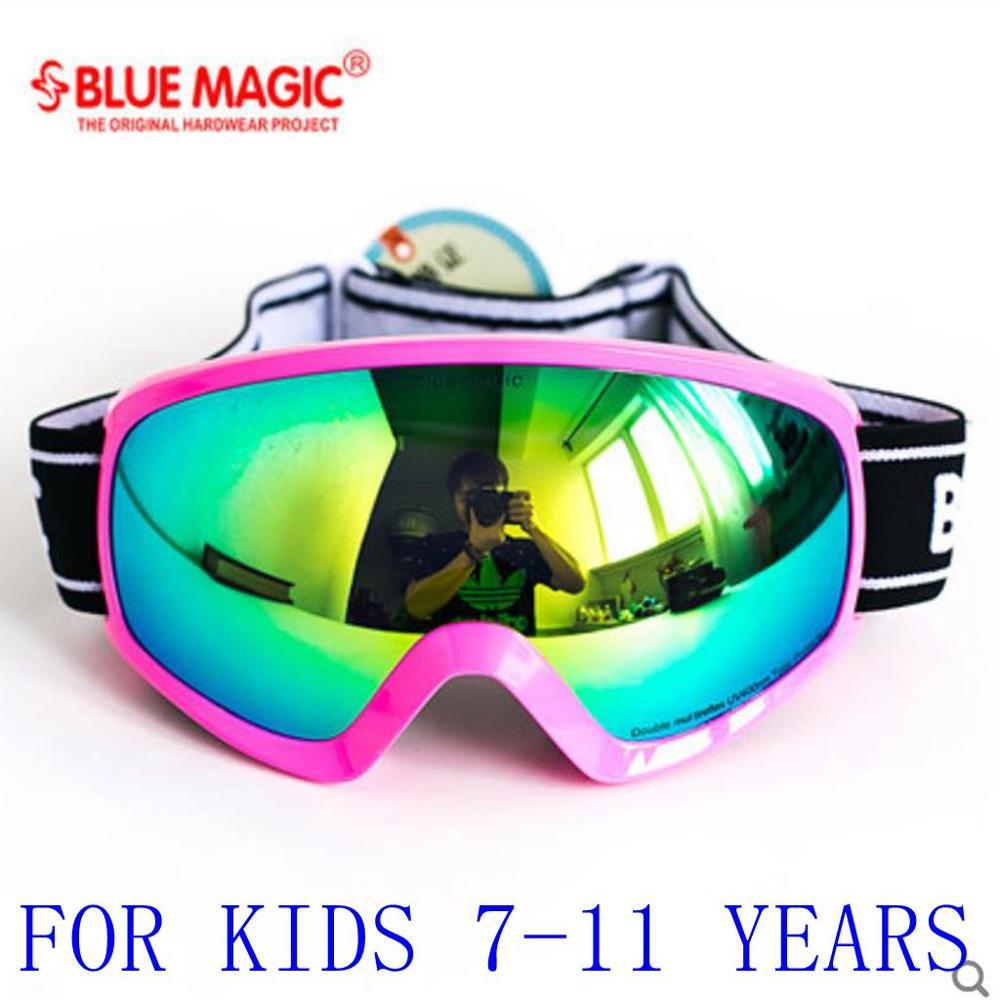 Bluemagic лыжные очки для детей, двойные линзы, мужские и женские очки, снежные очки, унисекс, очки для взрослых, Лыжный спорт, сноуборд, очки UV400 - Цвет: FOR KIDS GOLDEN