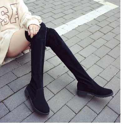 f414f47bc ... Size34-41 Winter Over The Knee Boots Women Stretch Fabric Women Thigh  High Sexy Lace ...
