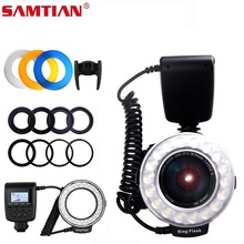 Samtian RF 550D flash luz 48 pçs led anel macro flash para nikon canon olympus sony panasonic fujifilm speedlite display lcd