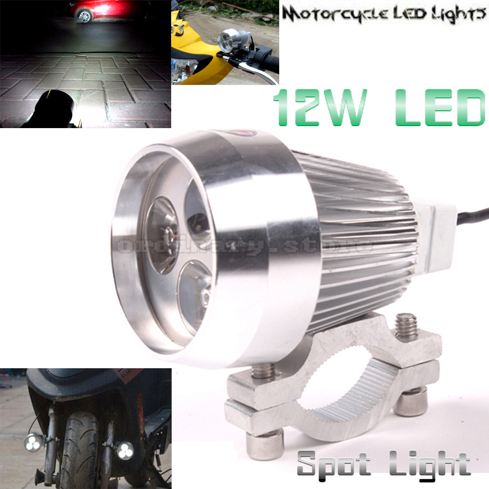 Metal chrome silver electric motor bike motorcycle 12w 3 for Dc motor light led