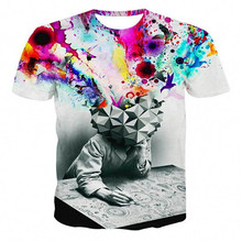 Men's Fashion 3D T-Shirt Polyester Creative lightning / smoke lion / Lizard / water droplets 3d printed short sleeve T shirt