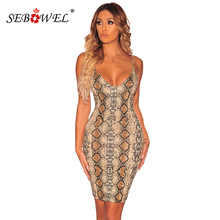 SEBOWEL 2019 Summer Nude Snake Print Mini Dress Women Sexy Sleeveless Spaghetti Straps Bodycon Floral Dresses Night Club