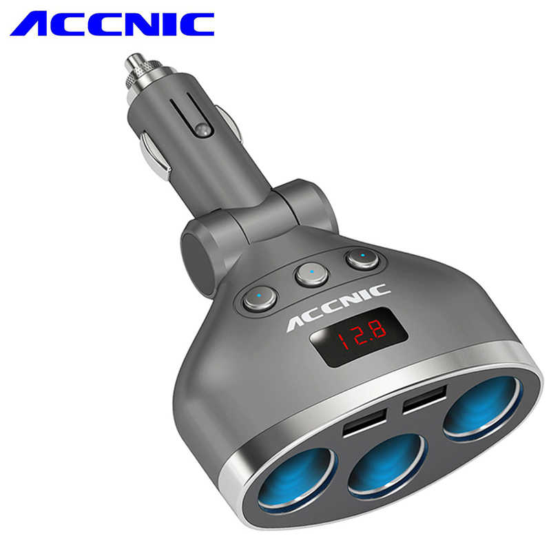 Accnic 5V 1A/2.4A Dual USB Car Cigarette Lighter Splitter Socket Adapter 120W LED Voltage Monitor Auto Car USB Plug Converter