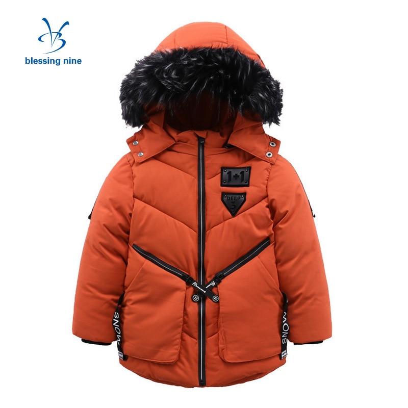 Boys Winter Jackets Warm Kids Hooded Zipper Snowsuit Boy Coat Army Green Parka Children Clothing Down Jacket 5-12 Year Old цены онлайн