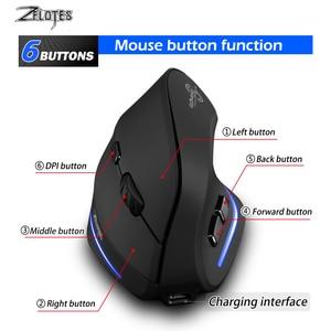 Image 4 - Fare Raton Zelotes F 35 2.4GHz dikey kablosuz şarj edilebilir usb 2400DPI 6 düğme oyun bilgisayarı fareler dizüstü PC için