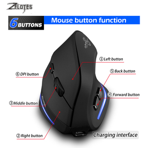 Image 4 - Mysz Raton Zelotes F 35 2.4GHz pionowy bezprzewodowy akumulator USB 2400DPI 6 przycisk komputer do gier myszy na laptopa PC