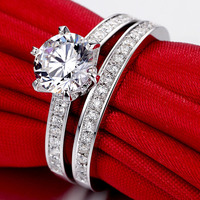 2 carat 925 sterling silver high carbon simulation diamant marriages wedding rings set jewelry (JSA)
