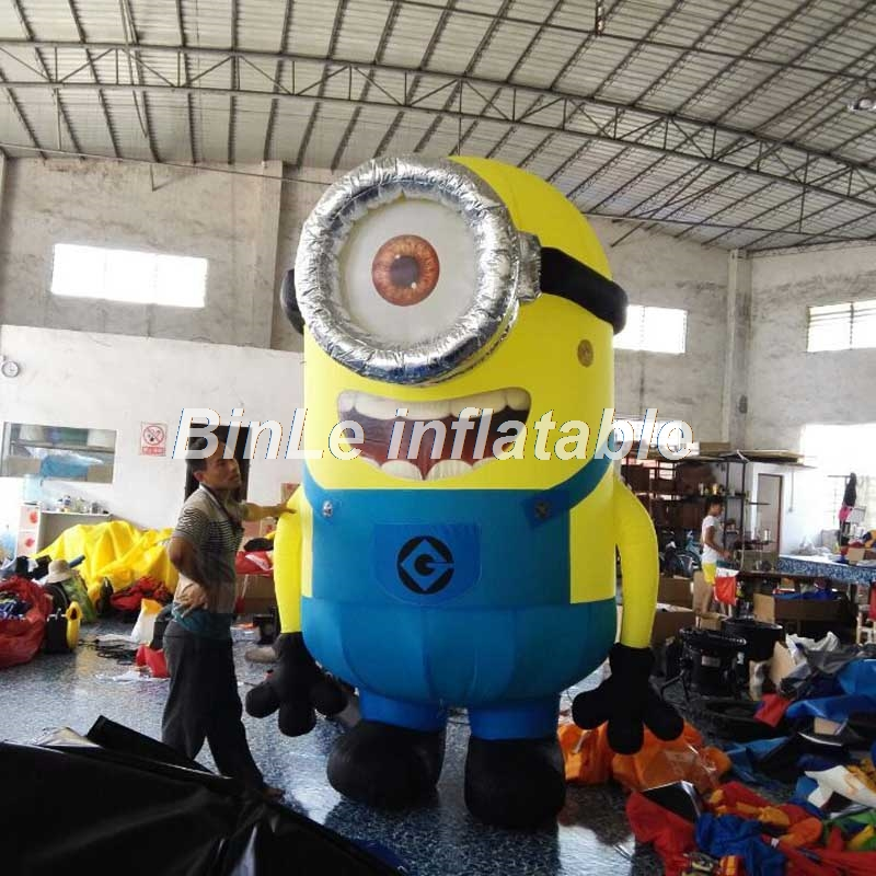 Custom movie mascot cartoon giant inflatable minion with big single eye small yellow man for advertising