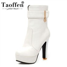 d22a9f7ba6 Tamanho 32-45 TAOFFEN metade curto tornozelo botas de inverno passarela das  mulheres do salto alto botas dedo do pé redondo five.