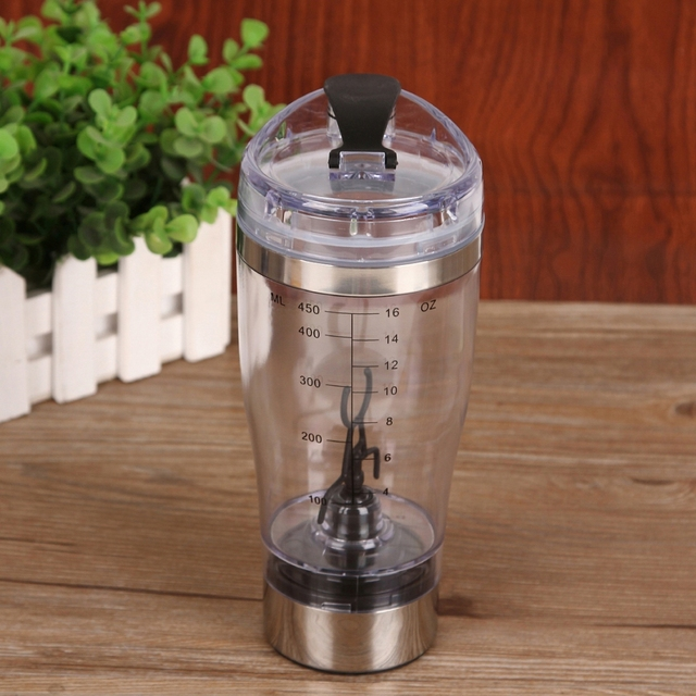 450ml Electric Automatic Protein Shaker Portable Movement Mixing Mixer Vortex Tornado BPA Free My Water Bottle