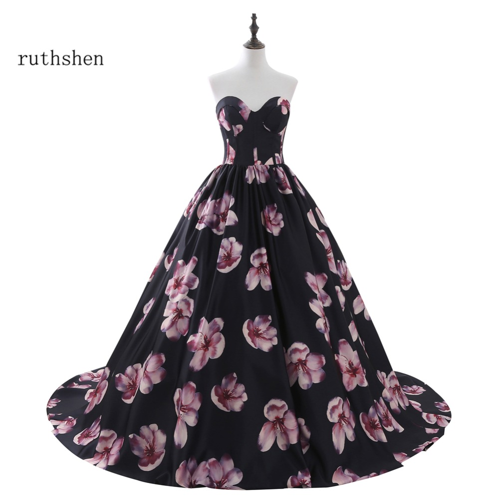 ruthshen Robe De Soiree In Stock Cheap Floral Long   Evening     Dresses   Size 2 -Size 16 Formal Prom   Dress   Vestito Da Sera Real Photos