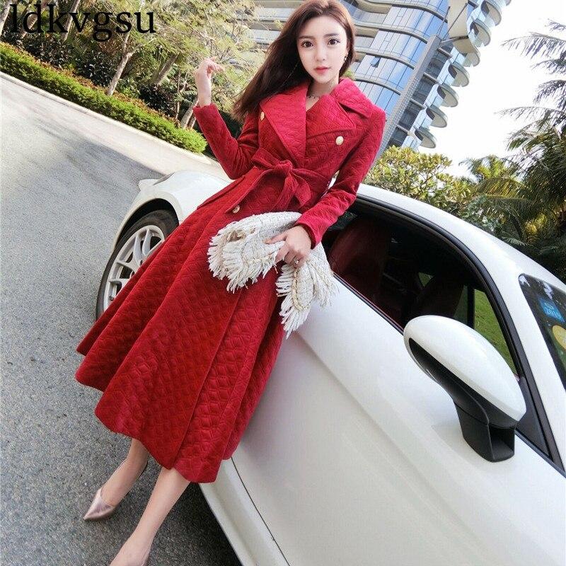 2019 New Autumn Winter Women's Long   Trench   Coats Korean Temperament Bandage Waist Long Double-breasted Windbreaker Coat V270