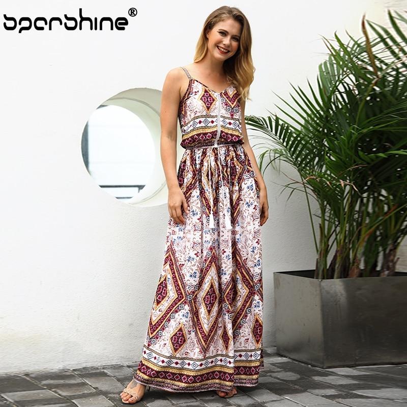 Sexy Vinage Summer Dress Deep V-Neck Women Dress High Waist Tassel Vestidos Beach Long Maxi Dress Robe Femme Ete