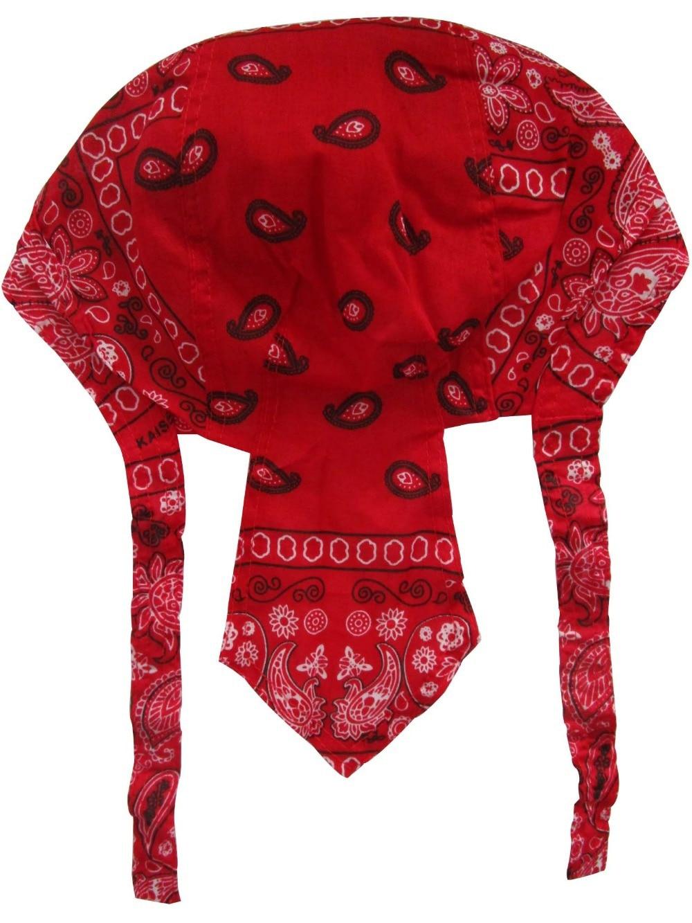 Free Shipping 2017 Cotton Red Paisley Bandana Head Wraps Durag Caps For Mens