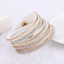 2016 Fashion Multilayer Rhinestone Slake Leather Bracelet Newest Crystal Bracelets&bangles For Women Fine Jewelry