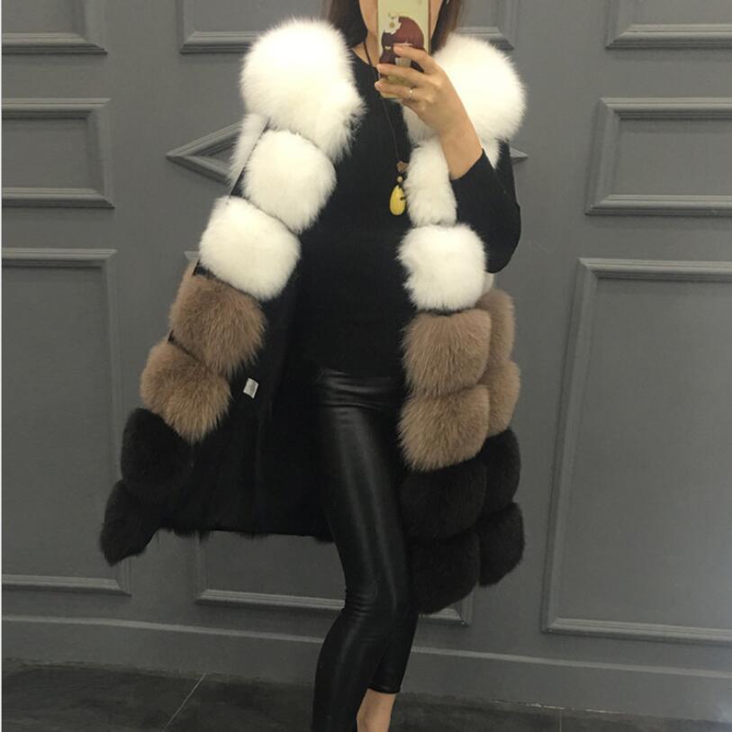 Fashion 7 Festival High Quality Fur Vest coat Luxury Faux Fox Warm Women Coat Vests Mid Length 2019 New Winter Coat Women