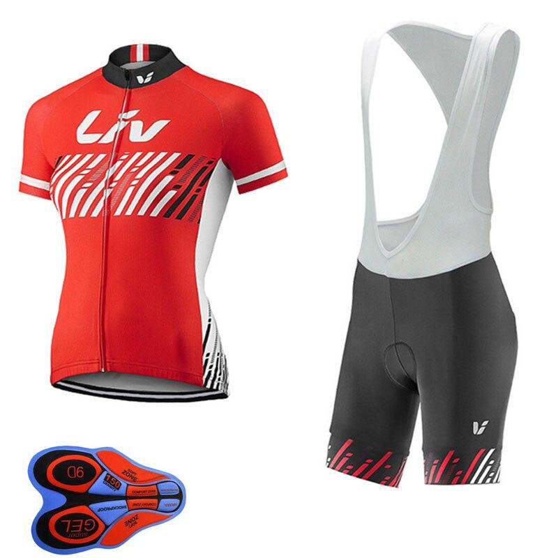 LIV Pro Cycling Jersey bicicleta bicycle Clothing Mountain Bike Clothes Womens Cycling Bib Shorts Set Ropa Ciclismo Mujer A25