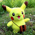 New Coming Cute 24CM Pikachu Plush Toys Funny Stuffed Pikachu with Haversack Soft Cotton Anime Figure Toys Best Xmas Gift