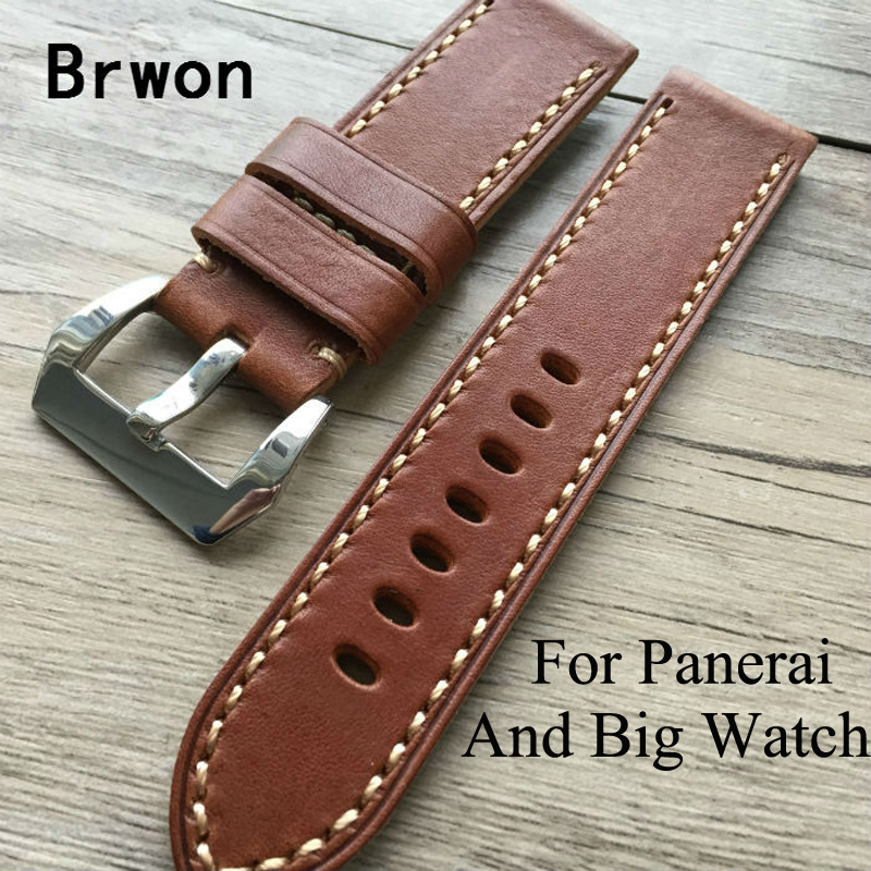 20MM 22MM 24MM 26MM High Quality Soft  Oil Wax Leather Strap,  Vintage Leather Watchbands,For PAM  And Big Pilot Watch 1pc white or green polishing paste wax polishing compounds for high lustre finishing on steels hard metals durale quality