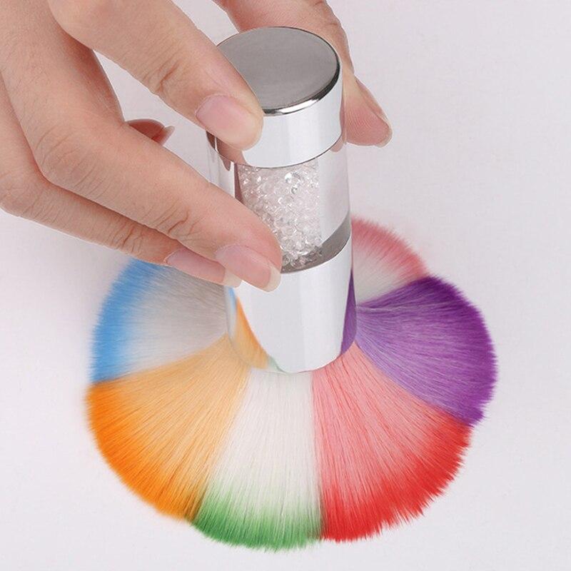 1 Pc Nail Art Dust Powder Cleaner Brush Rhinestone Handle Petal Nail ...