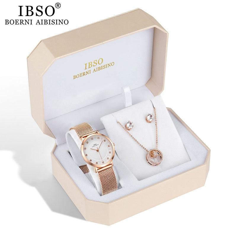 IBSO Marke Frauen Rose Gold Uhr Ohrring Halskette Set Weiblichen Schmuck Set Mode Kreative Kristall Quarzuhr dame Geschenk