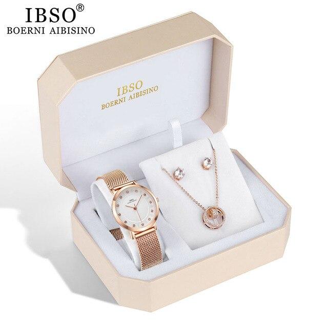 IBSO العلامة التجارية النساء ارتفع الذهب ساعة القرط قلادة مجموعة مجوهرات نسائية مجموعة الموضة الإبداعية ساعة كوارتز كريستال سيدة هدية