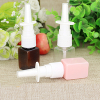10/50/100 adet 10 ml Pembe Kare Plastik Sis Nazal Sprey Şişesi Yeniden Sıvı Mini Kozmetik Ambalaj alt şişeleme Deneme Konteyner