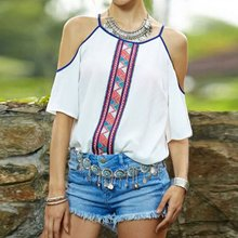 Sexy Women's Short Sleeve White Blouse Lady Vintage Loose Tops Shirts
