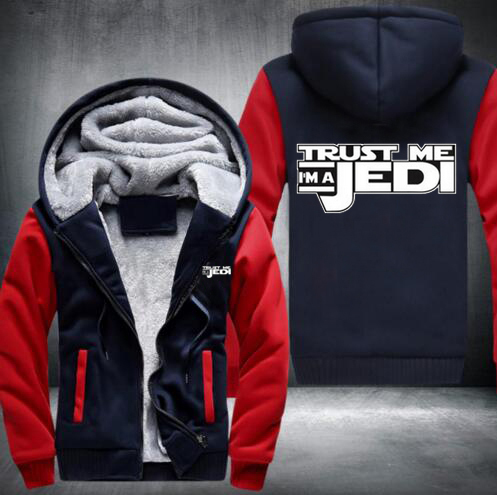 Star Wars Trust Me I'm A Jedi Printed Hoodies Men Hooded Tops Fashion 2016 Thicken Fleece Jacket Hombre USA EU size Plus size