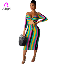Adogirl Off Shoulder Colorful Stripe Casual  Front Tie Short Sleeve Women Elegant Hollow Out Pencil Dress Fashion Female Outfits