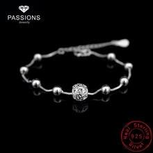 b5d208f3812b 2018 Venta caliente moda 925 plata esterlina placa pulsera cadena hueco bola  colgante pulseras cadena para mujer y Niña joyería .