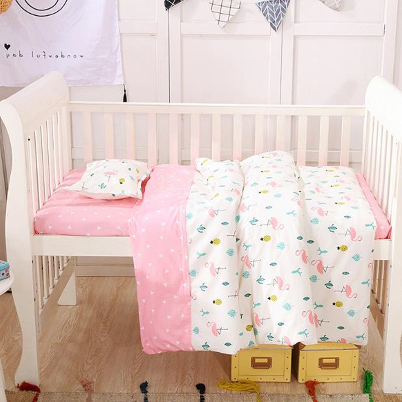 3Pcs Baby Bedding Sets 120*60 Soft Cartoon Pattern Printing Natural Cotton Bedding Newborn Quilt Cover Bed Sheet Crib Bedding