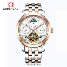 Marca de moda de Lujo del CARNAVAL de Hombres Reloj Tourbillon Calendario Reloj Mecánico Automático Hueco vestido Relojes Relogio Masculino Ocasional