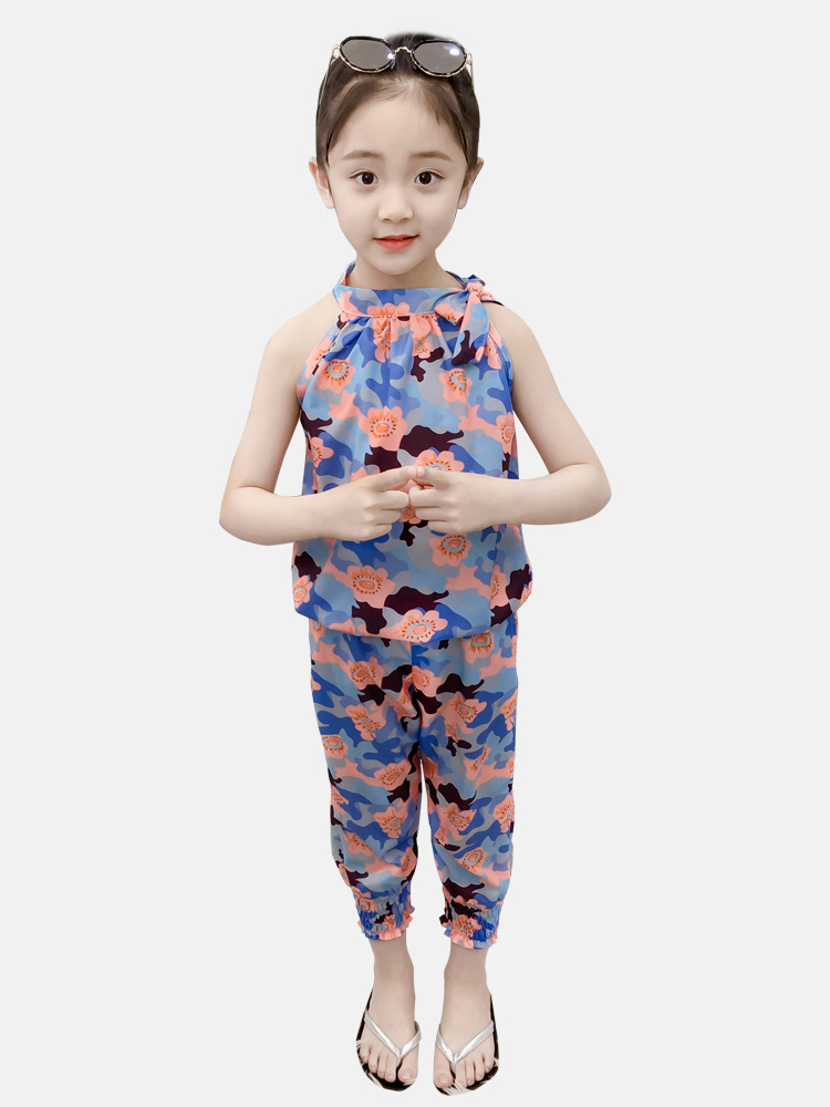 2019 New Children Clothing Sets Summer Girls Sports set Leopard Sleeveless T-shirt+Pants 2Pcs Girls Clothes 4 6 8 10 12 13 Years
