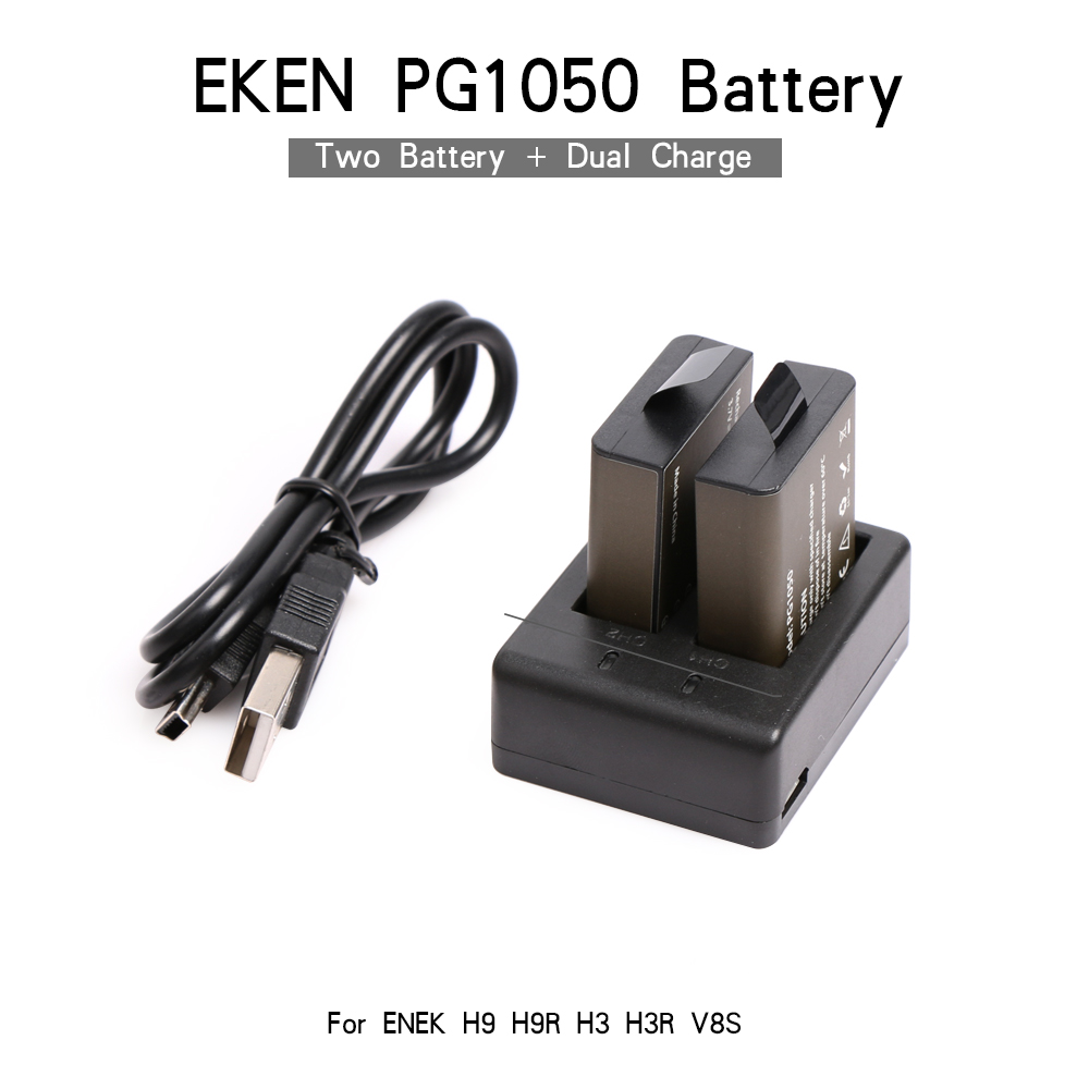 EKEN 2PCS Battery Dual Charger Action Camera Accessories For EKEN H9 H9R H8 H8R H8PRO V8S