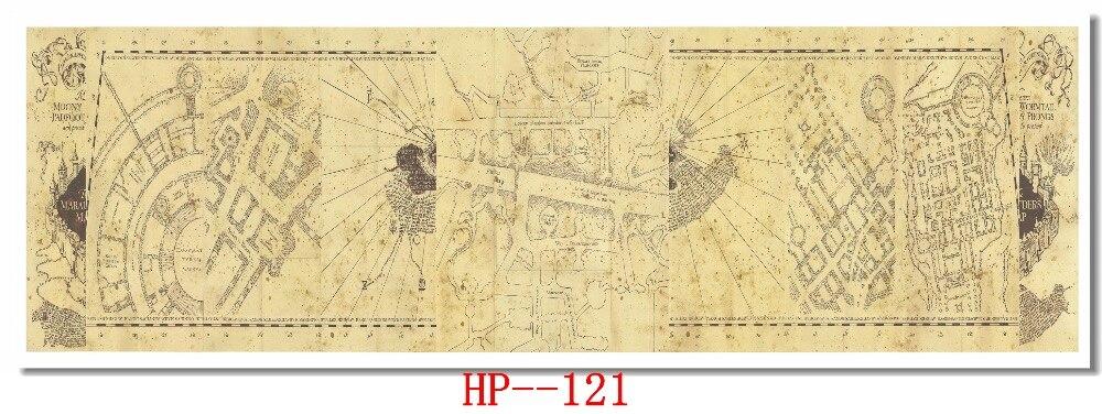 Custom Leinwand Wand Abziehbilder Vintage Harry Potter Marauders Map ...