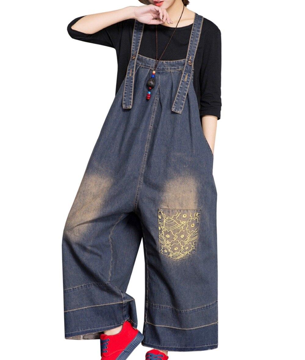 P91typ3 Bib Salopette Sangle Ouinon Denim Casual Combinaisons Femmes Jambe Ami Coton Large Pantalon 100 Blue Petit Combi 8TxqHwq