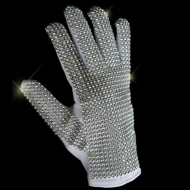 MJ Michael Jackson Classic Silver Handmade Billie Jean Shining Glove Imitate performance Collection