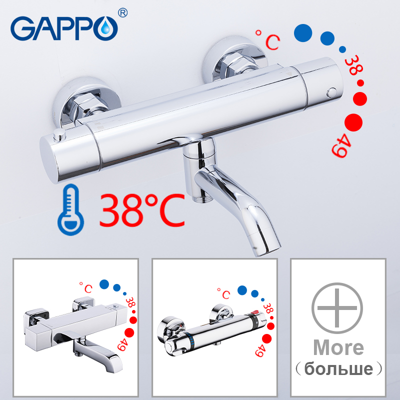GAPPO Bathtub Faucets Bathroom Thermostatic Shower Faucet Bathtub Faucet Main Body Bath Shower Mixer Set Waterfall Shower Head
