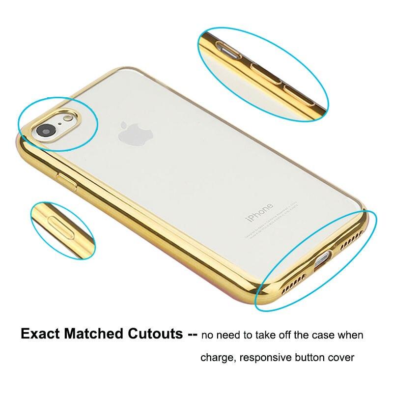Plätering Transparent Mjukt TPU-fodral för iPhone 8 6 7 Fodral - Reservdelar och tillbehör för mobiltelefoner - Foto 4