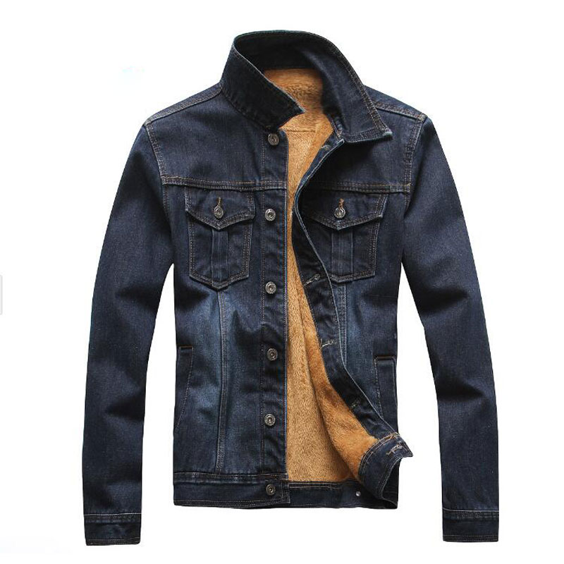 Fashion Men Fleece Denim Jackets Jaqueta Masculina Thick Warm Solid Single Breasted Jean Jackets Coats Plus Washed Outwear M-3XL